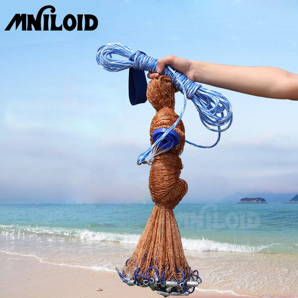 MNILOID Catch Fishing Net American Small Mesh Trap Cast Network Fly Hand Throw Nets With Sinker Size 2.4-7.2M