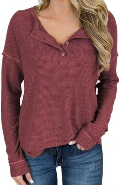 WAFG tişört kadın sonbahar düğmesi uzun kollu uzun kollu kadın eğlence trendi fanila .New kadın bluz düz renk
