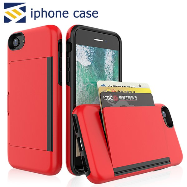 For iPhone 11 Pro X XS MAX XR s10 Mate20 Stylo4 Mobile Phone Side Credit Card Slot Insert Hard PC TPU Back Case Cover Protactor
