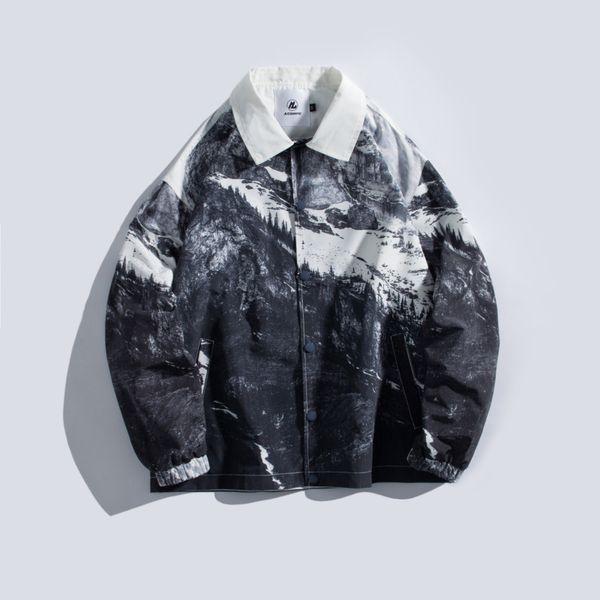 2019 Summer New Korean Retro Original Snow Mountain Japanese Cotton Pocket Graffiti Printing Men's Casual Jacket M-XL