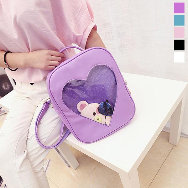 Mode Frauen Rucksack Candy Farbe Transparent Herzform Damen Mädchen Schule Umhängetaschen Für Reisetasche Fab Frauen Tasche