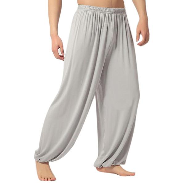 SZ-LGFM-yoga pantolon Gevşek Modal olgunlaşanlar tai chi erkekler kadınlar-Açık Gri, L