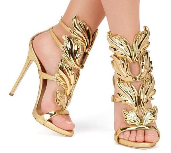 Venda quente metal dourado Asas Folha Strappy Vestido Sandália Prata Red sapatos de salto alto sapatos de grife Sandálias Mulheres Metallic Winged