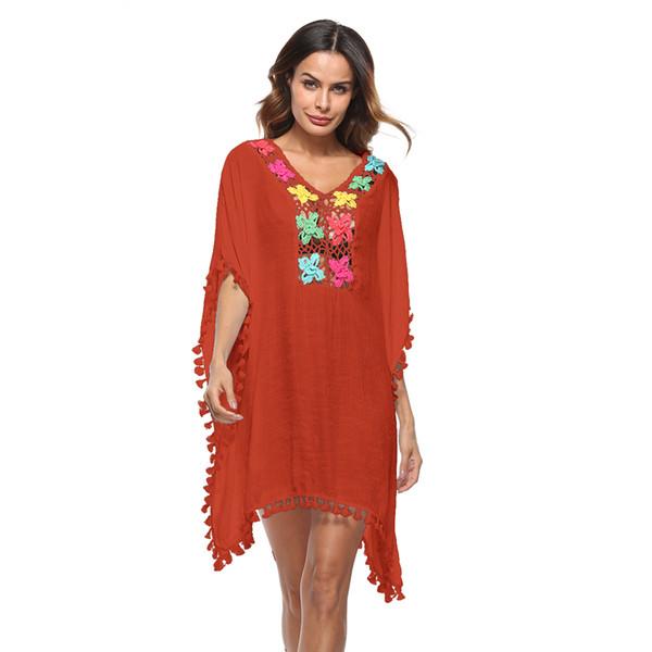 Women Loose Boho Blouse Tops Vintage Floral Tassel Beachwear Swimsuit Cover Ups Crochet Lace Hollow Out Beach Bikini Cover-up