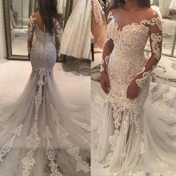 Luxury New Sexy Mermaid Wedding Dresses Sheer Neckline Lace Appliques Beaded Illusion Long Sleeves See Through Tulle Plus Size Bridal Gowns