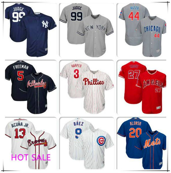Maillot de baseball masculin Bryce Harper Pete Alonso Aaron Juge Authentique domicile Mike Trout Freddie Freeman Ronald Acuna Maillots Manny Machado