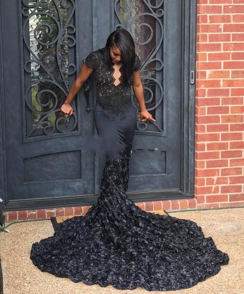Elegent Scalloped Queen Anne Neck Schwarz 3D Rosette Mermaid Prom Dresses Afrikanische Schwarze Mädchen Lange Zug Pageant Prom Kleider
