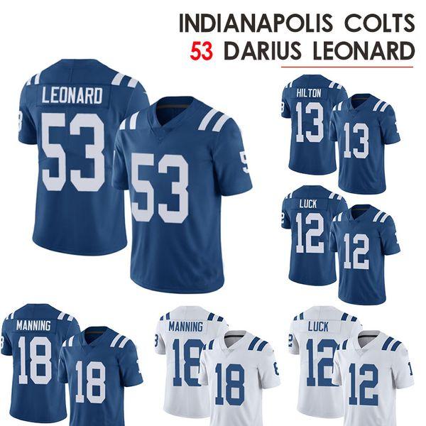 Colts 53 Darius Leonard Trikot 13 Ty Hilton 12 Andrew Luck 18 Peyton Manning Indianapolis Fußballtrikots 2019 neu