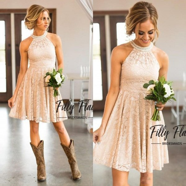 Champagne Nude Lace Short Bridesmaid Dresses 2019 Country Knee Length With Pearls Jewel Neck Western Maid of Honor Dress Plus Size BA7847