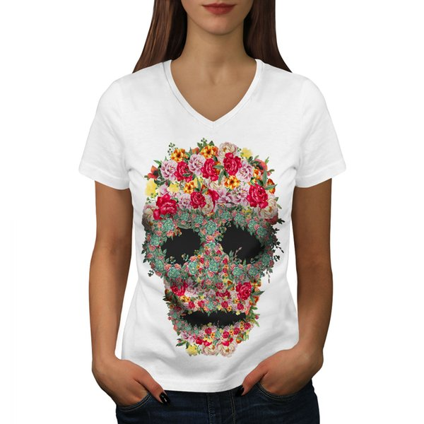 Skull Rose Flower Women V-Neck T-shirt NEW | Wellcoda Size Discout Hot New Tshirt Funny 100% Cotton T Shirt