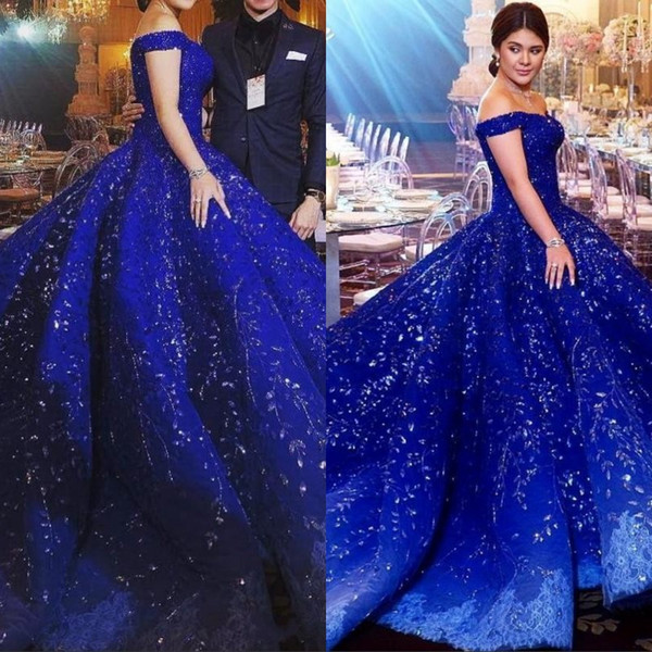 Custom Luxury Dubai Rhinestone Lace Prom Dress 2019 Beads Crystal Applique Off Shoulder Ball Gown Evening Gowns Gorgeous Engagement