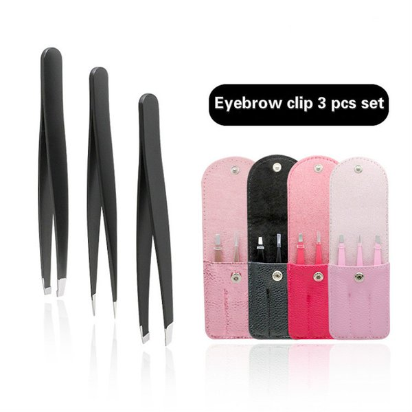 top popular 1.2 3pcs set with PU bag thick stainless steel eyebrow clip with sharp and slanted eyebrow tweezers mouth hair pulling 10 sets 2021