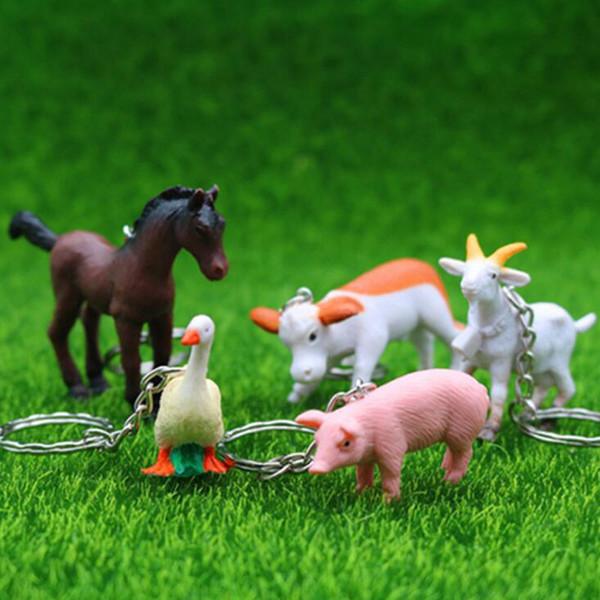Animais de fazenda chaveiro Chave Do Carro Casal Lindo Presente Keychain Para A Menina Mulheres Saco de Jóias Charme Jardim de Infância adereços para crianças