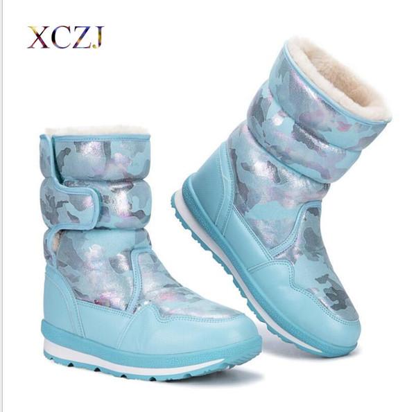 botas de invierno nueva marca calientan los zapatos del copo de nieve de alta Botas espesado, además de terciopelo de piel anti-ski nieve Girlw Mujeres
