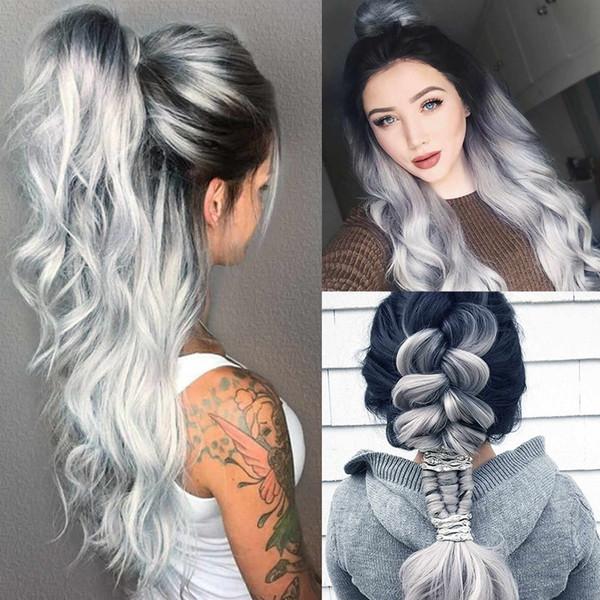 2019 Kadın Moda Sentetik Saç Peruk Uzun Gevşek Dalgalı Gri Tam Peruk Cosplay Parti Tatil DIY Süslemeleri