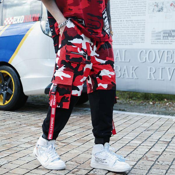 Transporte da gota 2019 mens moda splice camuflagem corredores calças black red camo calças dos homens calças dos homens