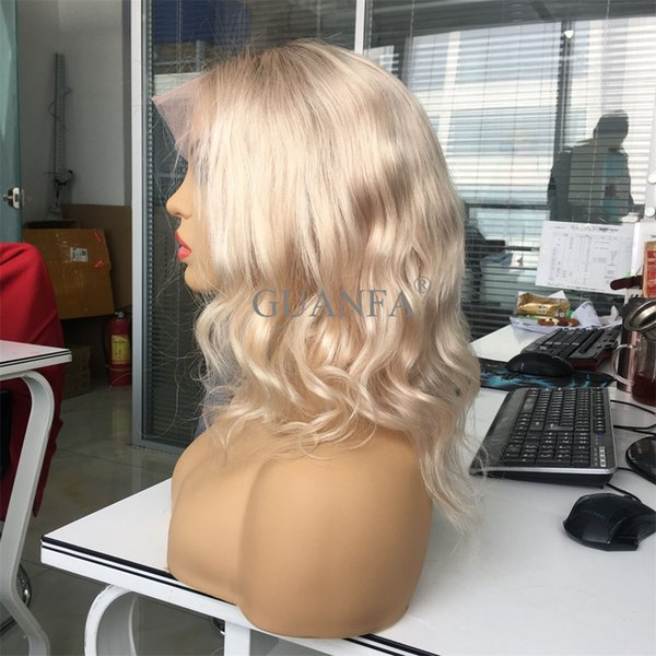 Sumptuous Platinum Full Lace Wigs With Baby Hair Virgin Hair Body Wave Bleached Knots Natural Hairline Lace Front Wigs