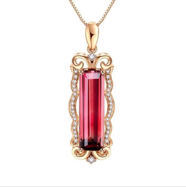 Euramerican hot sell euramerican natural red tourmaline pendant plated 18K rose gold inlaid color gem female pendant