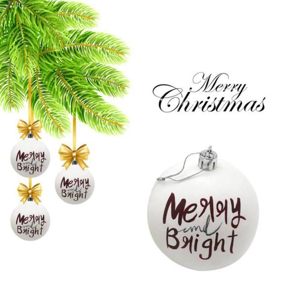 Смешные Рождественский бал Пластиковые украшения рождественской елки висячие украшения для дома Магазин Xmas Stars Дерево Письмо Printed Бал 6см