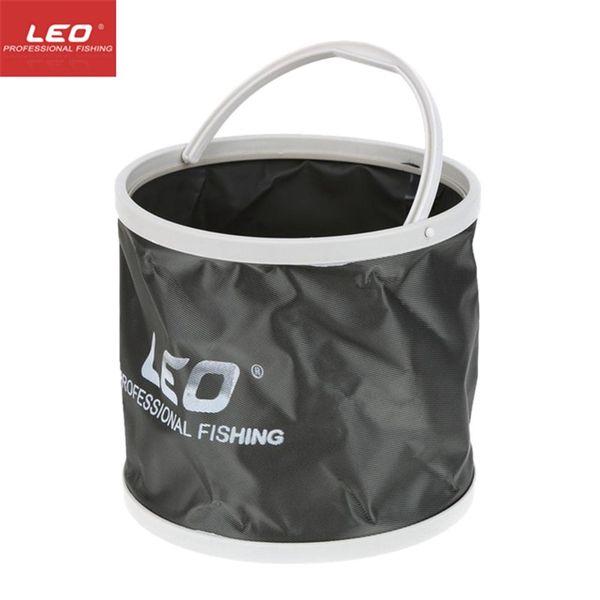 LEO Outdoor Canvas Bucket Folding Bucket Portable Camping Hiking Fishing Fishing Tackle Tools Light Grey Orange Blue #664235