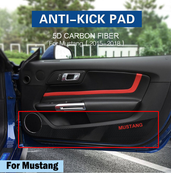 Ford Mustang 2015-2018 Year Car Styling Car Door Carbon Fiber Protection Film Sticker Decal Accessories Anti-kick Pads