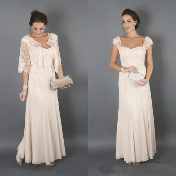 Champagne elegante mãe dos vestidos de noiva com jaqueta de madrinha formal mulheres usam noite convidados do casamento vestido Plus Size