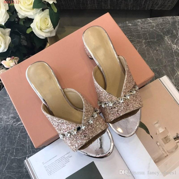 Women sandals New leather diamond Rough wear Leisure Half drag Shining Bling bling Leather outsole slippers