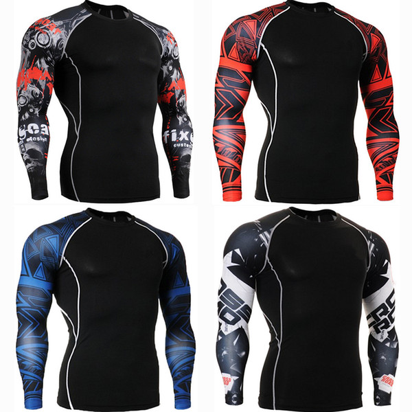 2019 new men's cycling base layer sports underwear trainning exercise t shirts long sleeve compression tight tshirt quick dry thumbnail
