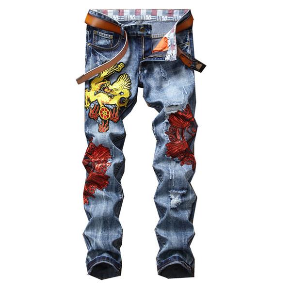 2019 мужские дизайнер дракон вышивка рваные джинсы брюки синие брюки человек мода отверстие джинсовые брюки ночной клуб ковбой размер 29-38