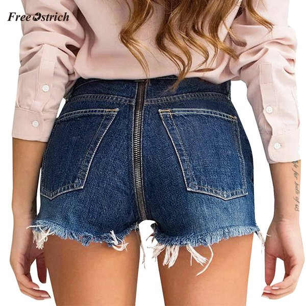Free Ostrich Clothes Women Jeans Back Zipper Denim Shorts Pants Tassel Wide-leg Trousers Pants Shorts summer slim Feminino Jeans