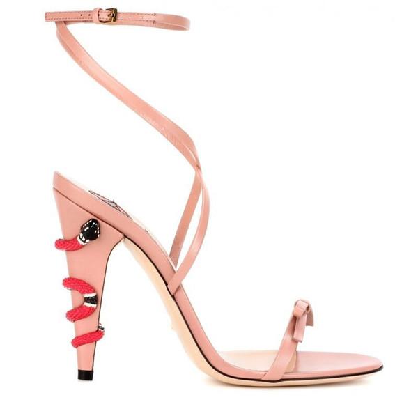 Frete grátis 2019 modelos de catraca sorte clássico Hot Design Sexy lip Snake Bow-tie Toe aberto Strap 10.5 CM Stiletto Heels Sandals Nude 34-43 01