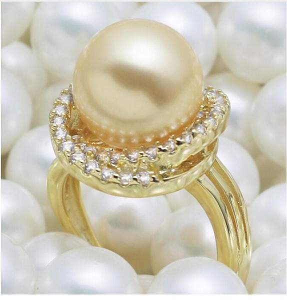 FREE SHIPPING Elegant sweet natural mother 12mm shell Pearl Ring