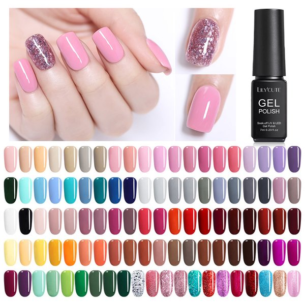 LILYCUTE 7 ml Pure Nail Art Set Polish Soak Off Caramel UV Gel Polish Longa Duração cor das unhas Gel Verniz Manicure