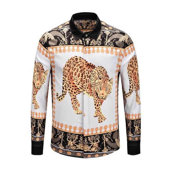 2019Autunno inverno manica lunga Camicie casual uomo stampato camicia stampata a colori Slim Fit medusa Camicie in seta M-2x