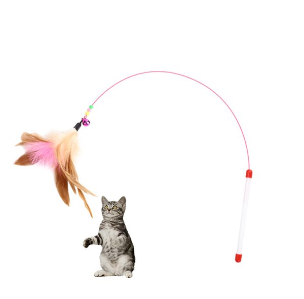 XU0318 2019 Hot Cat teaser funny kitten pet toy turkey feather toy interactive stick wire chaser multi color pet supplier cat toy purr
