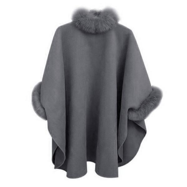 NOUVELLES femmes automne hiver mode élégance chaude couleur unie col de fourrure longueur moyenne manteau de laine tempérament manteau châle manteau femme