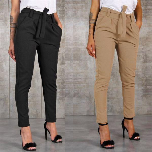 Women Fashion Mid Waist Harem Pants Ladies Bandage Elastic Waist Belt Trousers Solid Spring Autumn Office Casual Pants #25a Q190511
