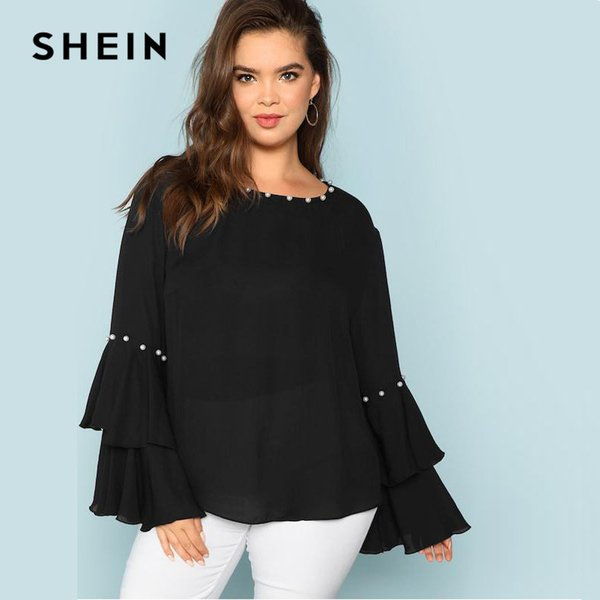 negozio online a683a 14972 Acquista SHEIN Pearls Embellished Layered Ruffle Sleeve Taglie Forti Donna  Camicetta Nera 2018 Fashion Beaded Detail O Neck Top A $20.91 Dal Qyzs001 |  ...