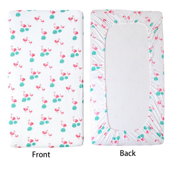 Soft Breathable Linen Mattress Cover Infant Fitted Baby Bed Knitted Bonnets Sheets Pure Cotton Cute Flamingo Crib Sheets