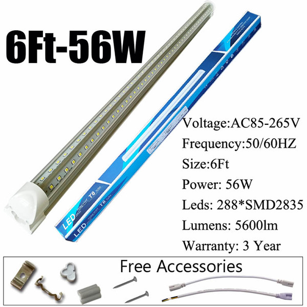 6Ft 56W V-Shaped Clear Cover