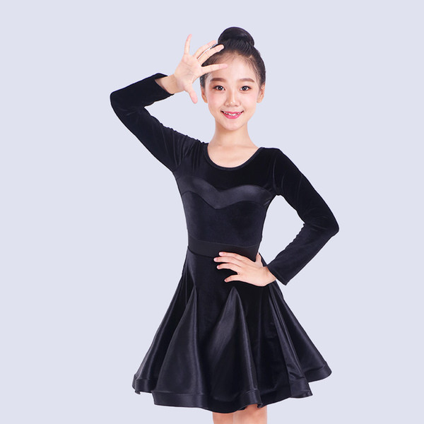 New Latin Dance Costume Girls Long Sleeve Latin Practice Clothes Rumba/Tango/Samba/Salsa Performance Stage Costume DQL1328