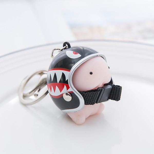 Jouet Casque mignon stress Squeeze Keychain releveur Prank Toy Sacs Hommes Femmes Charm Porte-clés Accessoires voiture Pendentif porte-clés # 1205