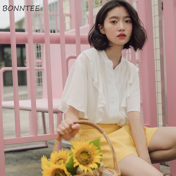 Shirts Women Solid Elegant All-match Short Sleeve Blouses Chic Womens Summer Clothing Korean Style Ruffles Sweet Loose Shirt Top