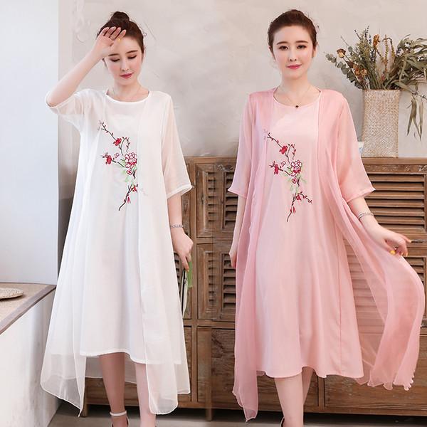 Uego Mince Léger Doux Coton Lin Chinois Style Été Robe À Broder Floral Deux Pièces Ensemble Femmes Casual Robe Costumes Vestidos