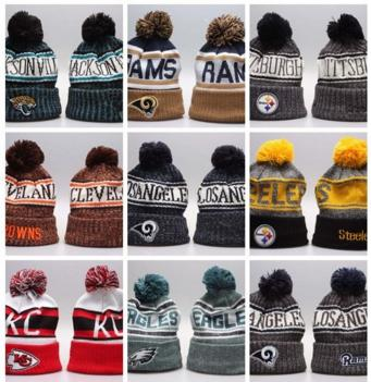 266cf12564b15 2019 New Arrival Beanies Hats American Football 32 teams Beanies Sports  winter side line knit caps