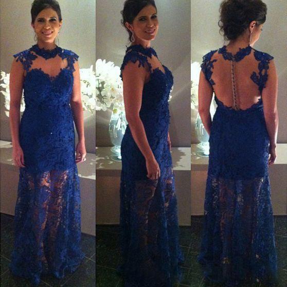 Elegantes vestidos de fiesta de sirena azul real Nueva ilusión sin mangas Joya cuello hasta el suelo Vestido de madre del vestido de novia Vestidos de noche