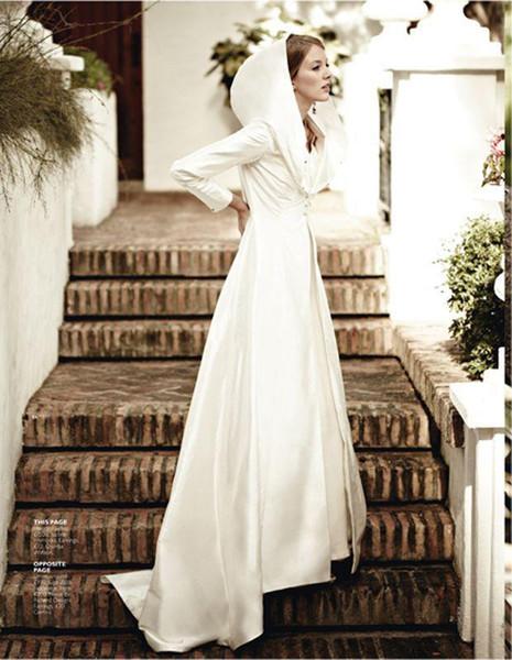 cheap Charming Bridal Cloak Long Cape Custom Make Hot Selling Long Sleeves stain Coat Bolero Satin Fabric Bridal Wraps & Jackets
