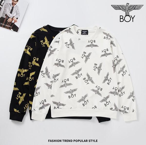 Felpa di marca londinese di moda ragazzo mens designer classico logo aquila felpe hip hop maglione pullover bianco nero terry di alta qualità
