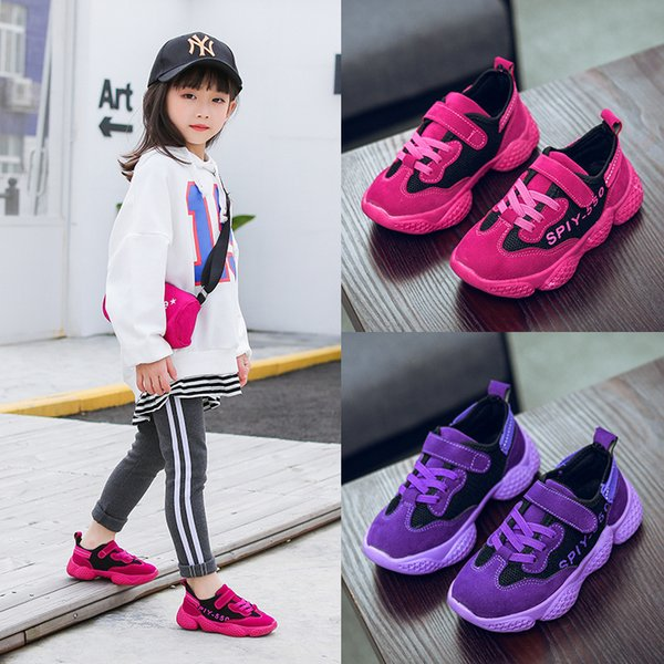 2019 new children's sports girls fashion running shoes children's shoes breathable comfort spring and autumn new girls shoes 2 color