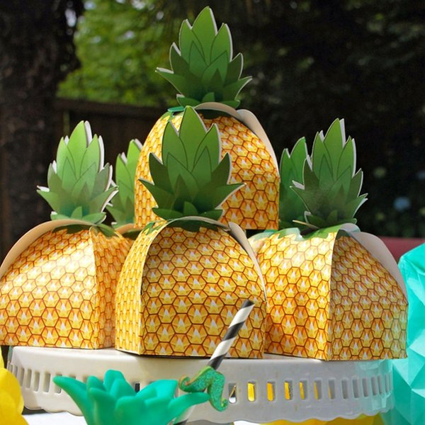 Hawaiian Pineapple Party Candy Boxes 36pcs Hawaiian Party Decorations Sweets and Candy Paper Box Decorative Gift Box